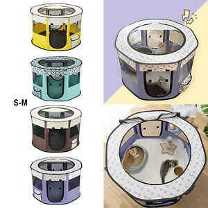 Foldable dog and cat playpen play exercise fabric kennel breathable