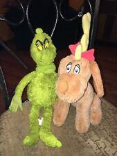 Lot of 2 Dr Seuss Grinch and Dog Max Plush Kohl's Cares & Universal Studio