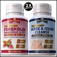 2 BOTTLES FORSKOLIN NATURAL SLIMMING DIET WEIGHT LOSS PILLS COLON DETOX CLEANSE