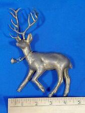 Rare Antique-VTG Thin Plastic Celluloid Xmas Tree Ornament Gold Reindeer Santa