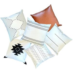 Set of 6, Modern Cotton & Faux Leather, Boho Farmhouse Decorative Pillow Cover