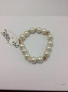 $36 Anne Klein Gold Tone Imitation Pearl & Crystal Stretch Bracelet AK106