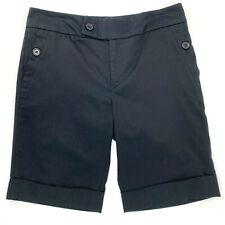 Jennifer & Grace Womens Cuffed Bermuda Shorts Flat Front Cotton Black Size 6