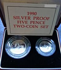 More details for five pence 5p 1990 silver proof double set