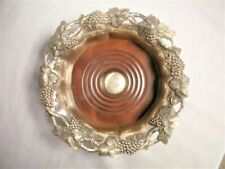 Vintage Silver Plate & Wood WINE BOTTLE COASTER Dish GRAPEVINE Grapes Hallmarks
