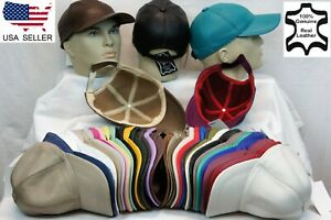 New 100% Real Genuine Lambskin Leather Baseball Cap Hat Sports Visor 40 COLORS