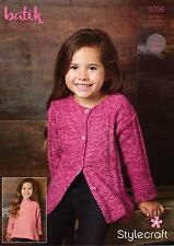 Stylecraft 9296 Knitting Pattern Girls Sweater & Cardigan in Stylecraft Batik DK
