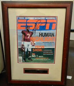 "Michael Vick Signed Autographed Framed ESPN Magazine. ""Human Hightlight"""