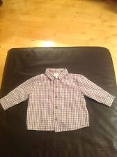 BABY BOYS JASPER CONRAN CHECKED LONG SLEEVED SHIRT BLUE & BEIGE AGE 3-6 MONTHS