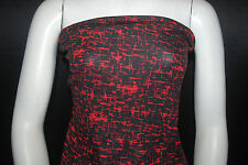 Rayon Stretch Jersey Knit Fabric Beautiful Abstract print  Red/Black combo