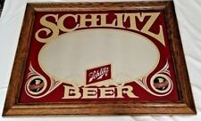 "SCHLITZ BEER vintage mirror wood framed advertising bar pub man-cave sign 21x27"""