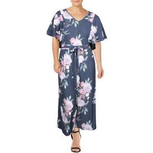 City Chic Womens Navy Floral Flounce Sleeve Wide Leg Jumpsuit Plus 22 BHFO 7710