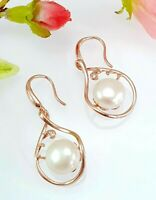 Rose Gold Over Sterling Silver 10 mm Pearl & White Zopaz Drop Earrings
