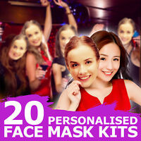20 FULLY PERSONALISED FACE MASKS KITS FOR HEN PARTY BIRTHDAY ACCESSORY HER 1