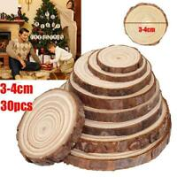 30 x Unfinished Natural Round Wood Slices Circles Discs Crafts For DIY
