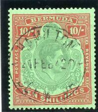 Bermuda 1939 KGVI 10s bluish green & deep red/green VF used. SG 119a. Sc 126b.