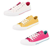 Spot on F8R0016 Ladies Pump Canvas Shoe  Mustard, Fuchsia or White (R4A)