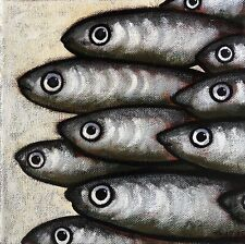 Peinture Tableau Poissons Sardines Tourrier
