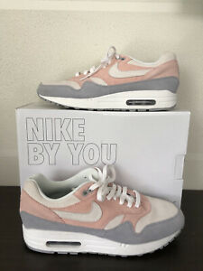 Nike By You Nike ID Women's Air Max 1 2019 Pink Gray White Suede US 10