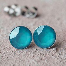NUOVO Titanio Orecchini a bottone con 8mm swarovski pietre in Azure Blue/Turchese Orecchini