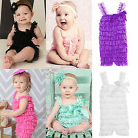Girls' Cutie Bowknot Lace Ruffle Petti Toddler Baby Sling Romper Jumpsuit Showy