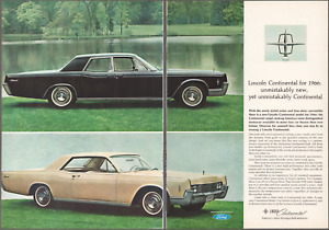 """1966 Lincoln Continental """"Unmistakably New"""" 2pg Vintage Print Art Car Ad"""