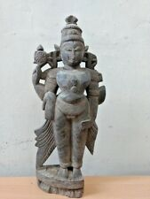 Very Old Antique Wooden Hindu God Vishnu Sculpture Ancient Figurine Statue Rare