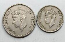 LOTE *2 MALASIA 1950 JORGE VI 10 Y 20 CENTS MONEDA