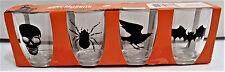 HALLOWEEN Set of 4 Plastic Shot Glasses 1.8 oz Skull / Spider / Raven / Bat