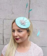 Mint Green Silver Lace Feather Pillbox Hat Fascinator Hair Clip Vtg Races 2715