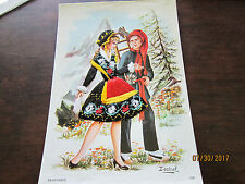 Vintage NEW Postcard Savoyards Isabel Compagnie Des Arts Needlepoint Alps Couple