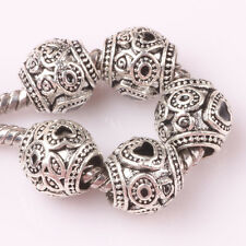 5pcs Tibetan silver love lampwork spacer beads fit Charm European Bracelet BL139