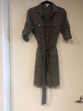 J Crew Women's  Olive Green Military Cargo Dress Silk/Cotton  3/4 Sleeve  Sz. 4