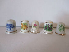 """VINTAGE ASSORTMENT OF THIMBLES - """"5"""" - VARIOUS MATERIAL - SEE PICS - FREE SHPG"""