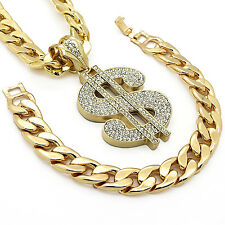 "Mens Gold Iced Out Money Sign Pendant Hip-Hop 30"" Inch Cuban Chain & Bracelet"