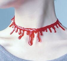 NEW HALOWEEN COSTUME BLEEDING NECK CHOKER NECKLACE BLOOD SLASHED THROAT CUT
