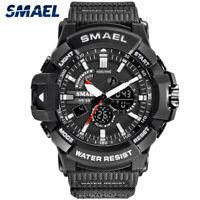 Men's Digital Round Analog LED Dual Time Quartz Sports Wrist Watch Waterproof US