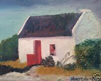 """Ireland Thatched Roof Cottage 8x10"""" Limited Edition Oil Painting Print signed"""