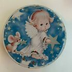 """Angel Mouse Star Round Tin Tray By Giftco 6.6""""- """"Angels Gather Here"""""""