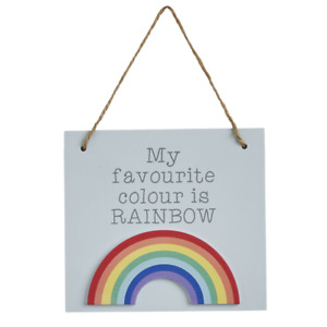 My Favourite Colour Is Rainbow Wooden Hanging Sign LGBTQ