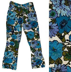 "Vintage Hippy Hippie Blue Floral Flowers Flare Jeans W 26"""