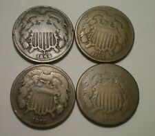 1864 LM, 1865, 1870 AND 1871 TWO CENT PIECE