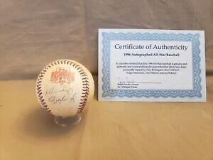 Ken Griffey Jr, Alex Rodriguez, Edgar Martinez SIGNED Baseball 96 All-Star Game.