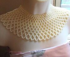 Vintage Faux Pearl Bib Collar Necklace FREE SHIP Detailed cream Intricate