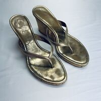 Coach Lannie Metallic Gold Thong Sandal with Cork Wedge Heel Size 7.5 7 1/2