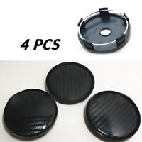 4x Black  Carbon Fiber Car Wheel Hub Center Caps Cover Kit 60mm ABS Universal BA