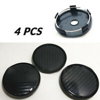 4x Black Carbon Fiber 60mm Car Wheel Hub Center Caps Cover Plastic Accessories