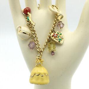 DISNEY vintage Beauty and the Beast charm bracelet - RARE gold-tone Belle Potts