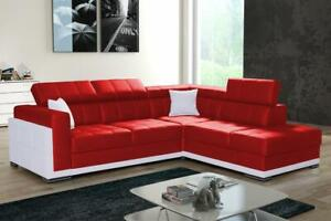 New Modern Corner Sofa Bed BARI 2 Faux Leather Storage Pull Out Bed 6 Colours