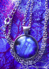 """Doctor Who ~ TARDIS ~ glass-and-metal picture pendant w/ 20"""" adj necklace chain"""